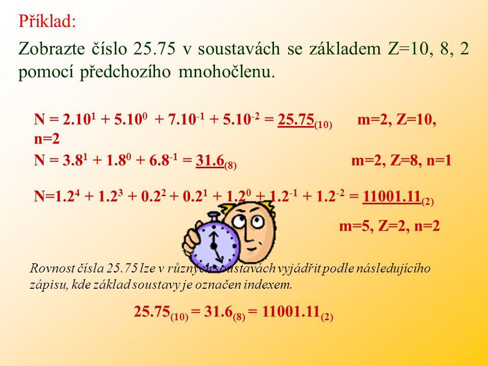 Příklad: Zobrazte číslo 25.75 v soustavách se základem Z=10, 8, 2 pomocí předchozího mnohočlenu.