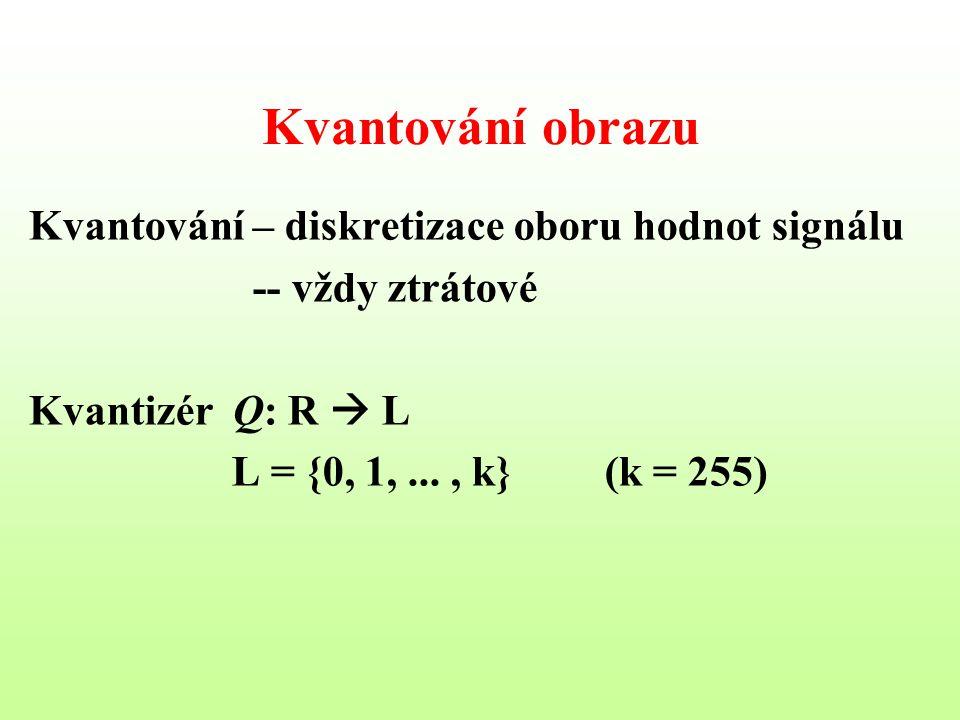 Kvantování obrazu Kvantování – diskretizace oboru hodnot signálu