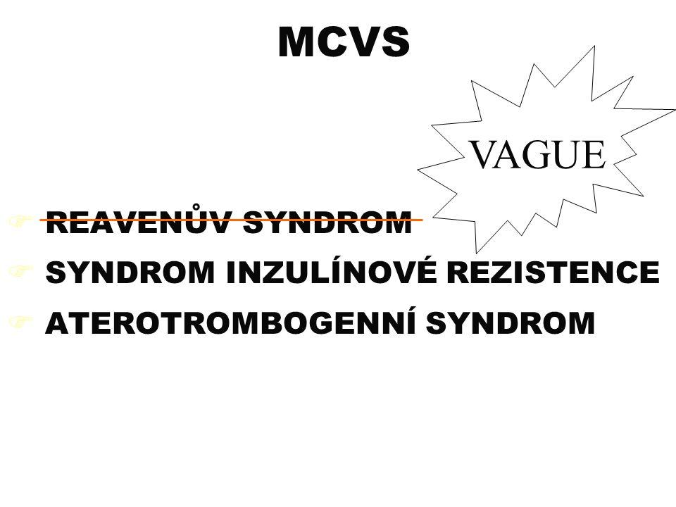 MCVS VAGUE REAVENŮV SYNDROM SYNDROM INZULÍNOVÉ REZISTENCE
