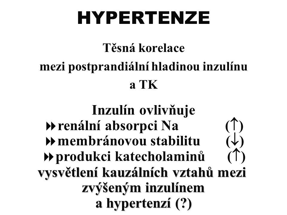 HYPERTENZE Inzulín ovlivňuje renální absorpci Na ()