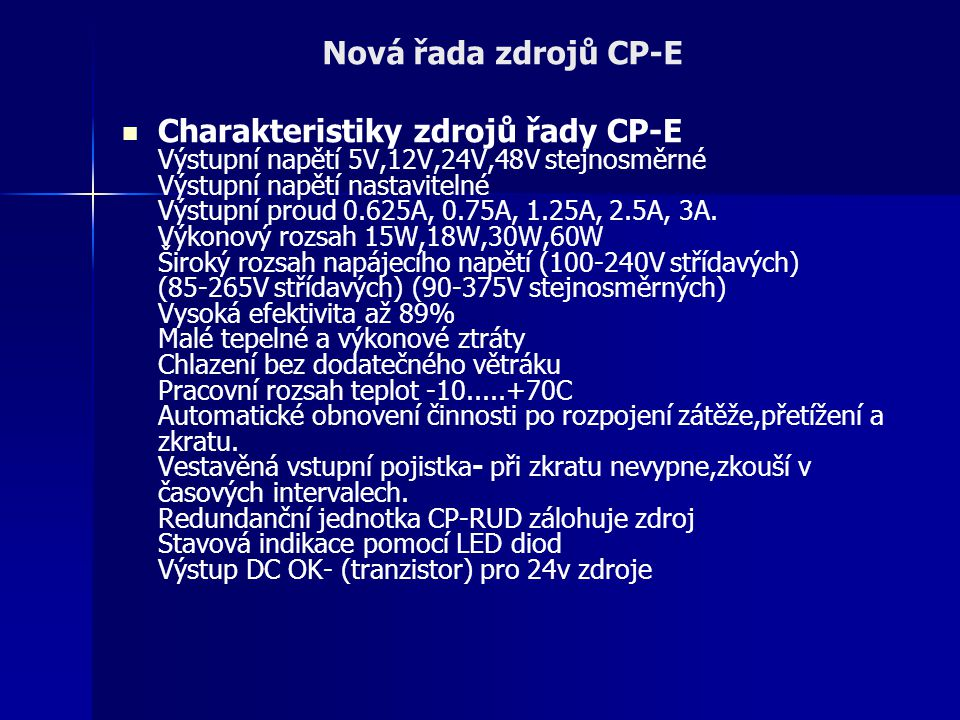 Nová řada zdrojů CP-E