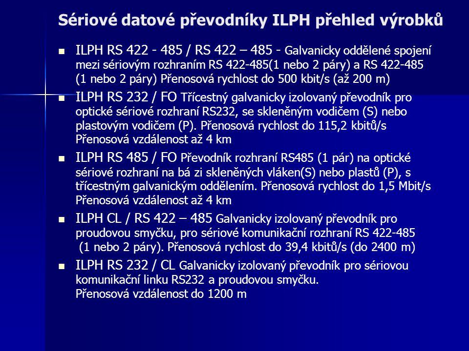 Sériové datové převodníky ILPH přehled výrobků