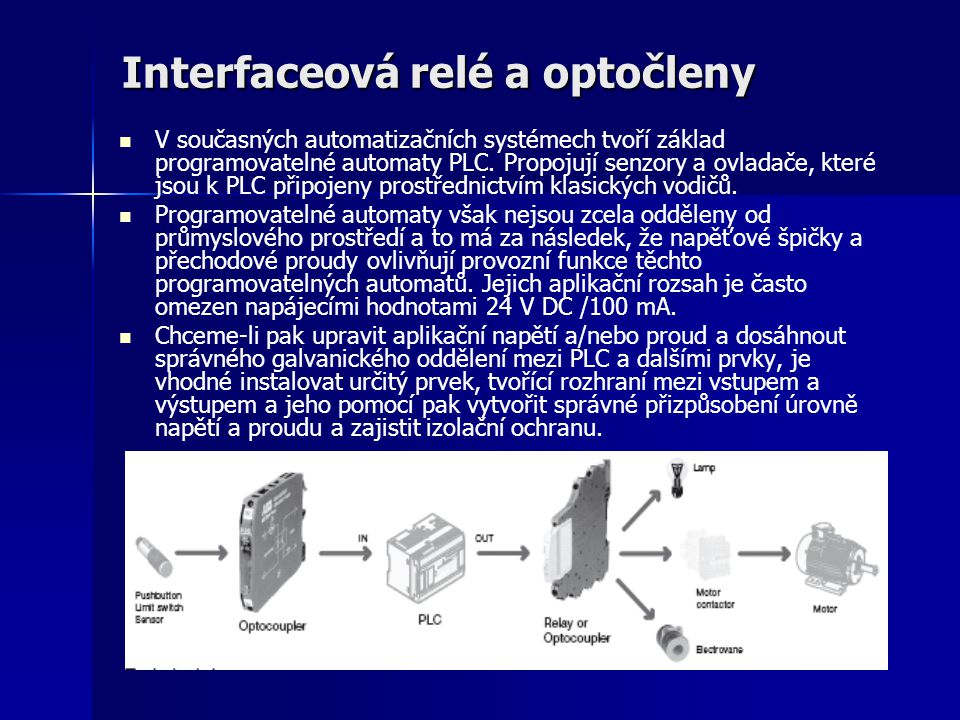 Interfaceová relé a optočleny