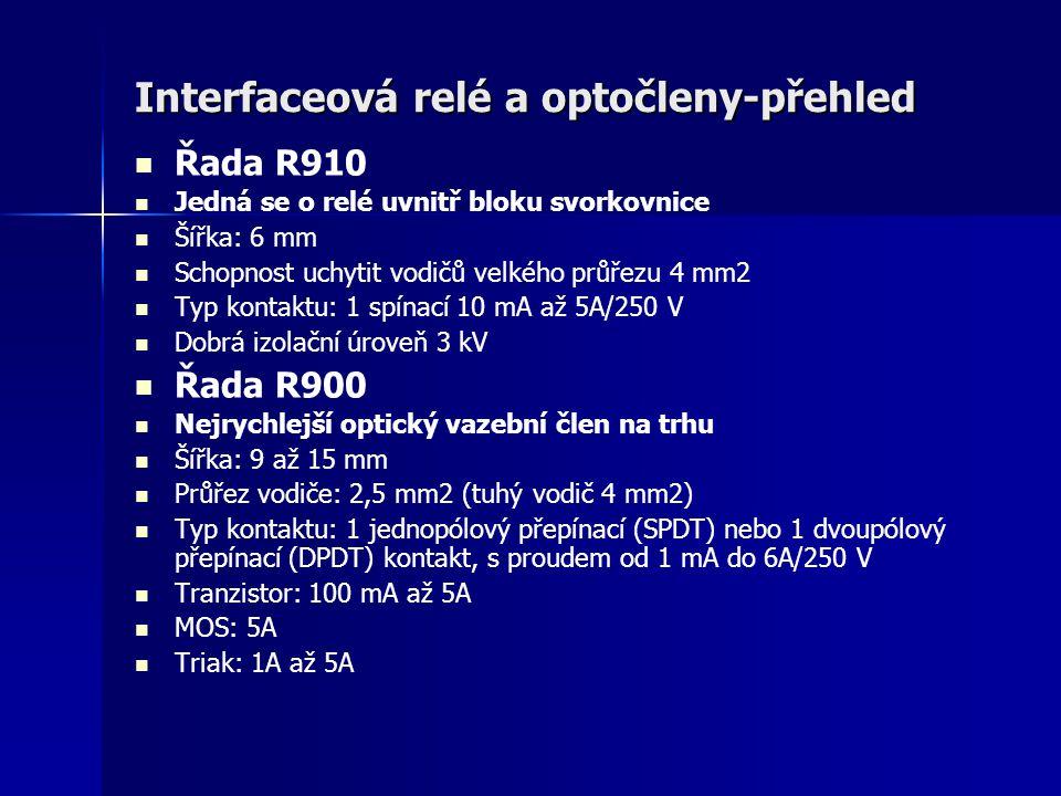Interfaceová relé a optočleny-přehled