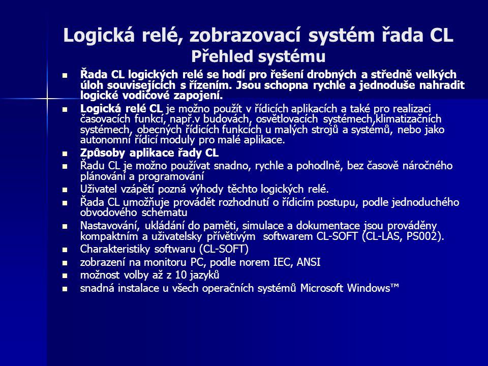 Logická relé, zobrazovací systém řada CL Přehled systému