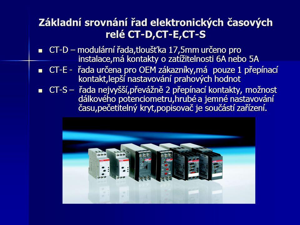 Základní srovnání řad elektronických časových relé CT-D,CT-E,CT-S