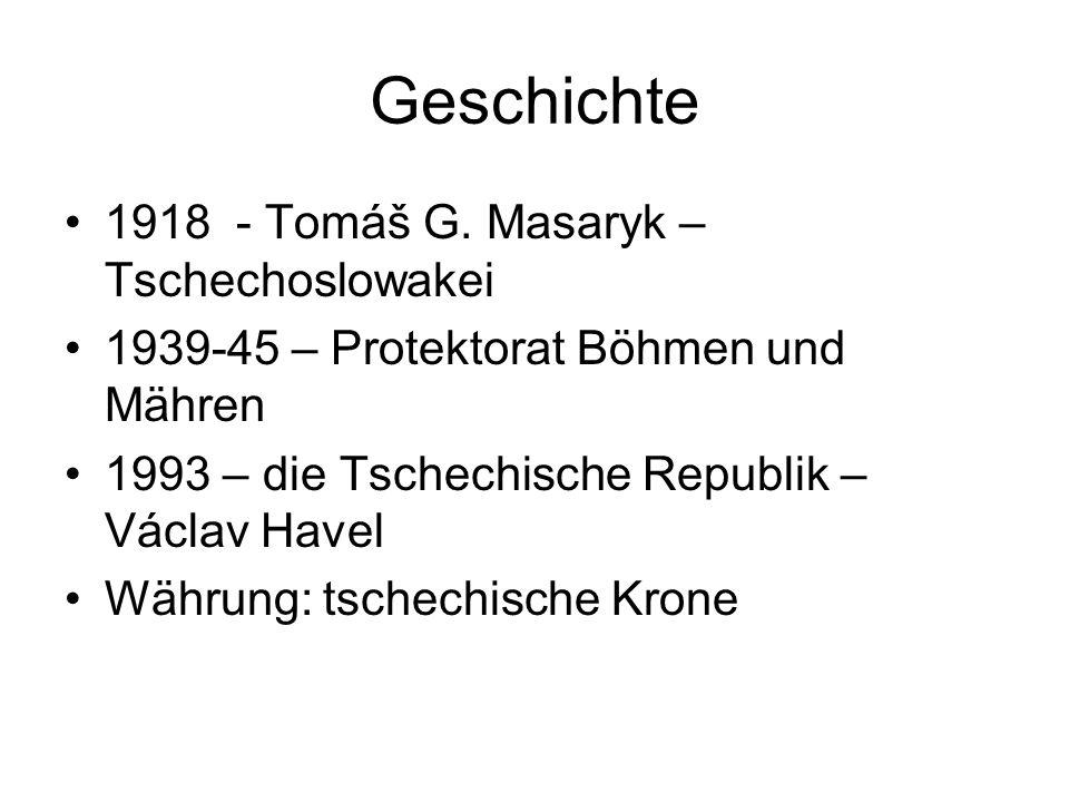 Geschichte 1918 - Tomáš G. Masaryk – Tschechoslowakei