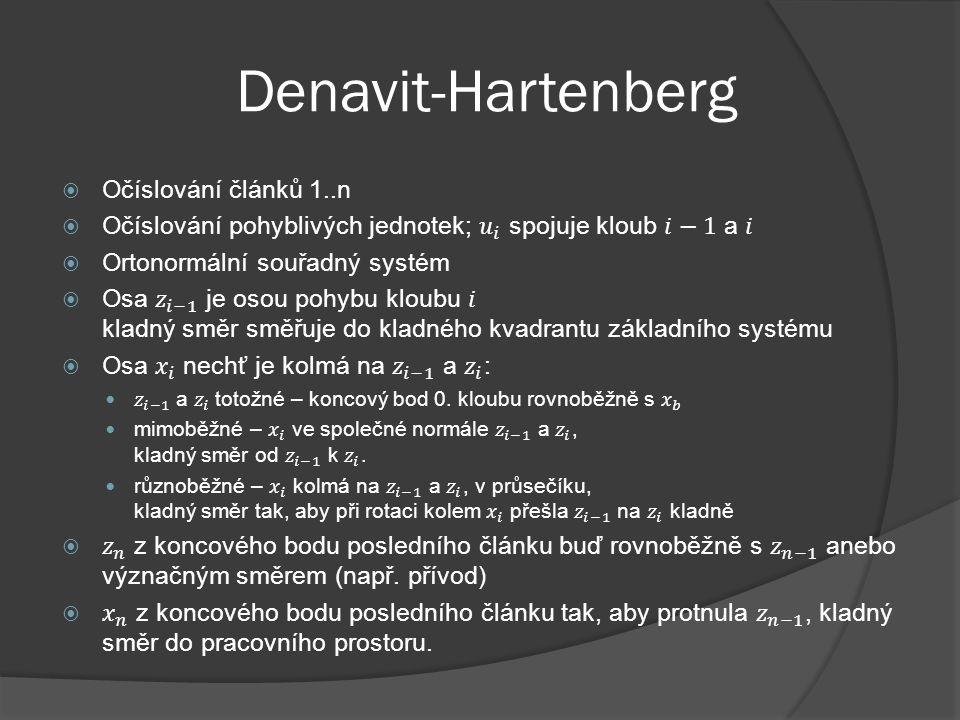 Denavit-Hartenberg Očíslování článků 1..n