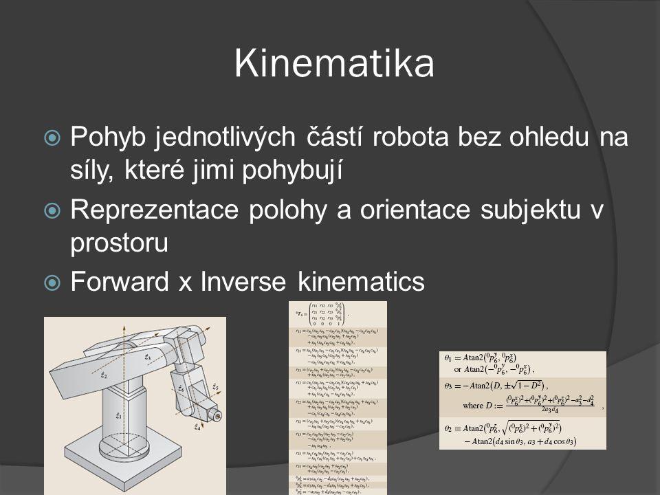 Kinematika Pohyb jednotlivých částí robota bez ohledu na síly, které jimi pohybují. Reprezentace polohy a orientace subjektu v prostoru.