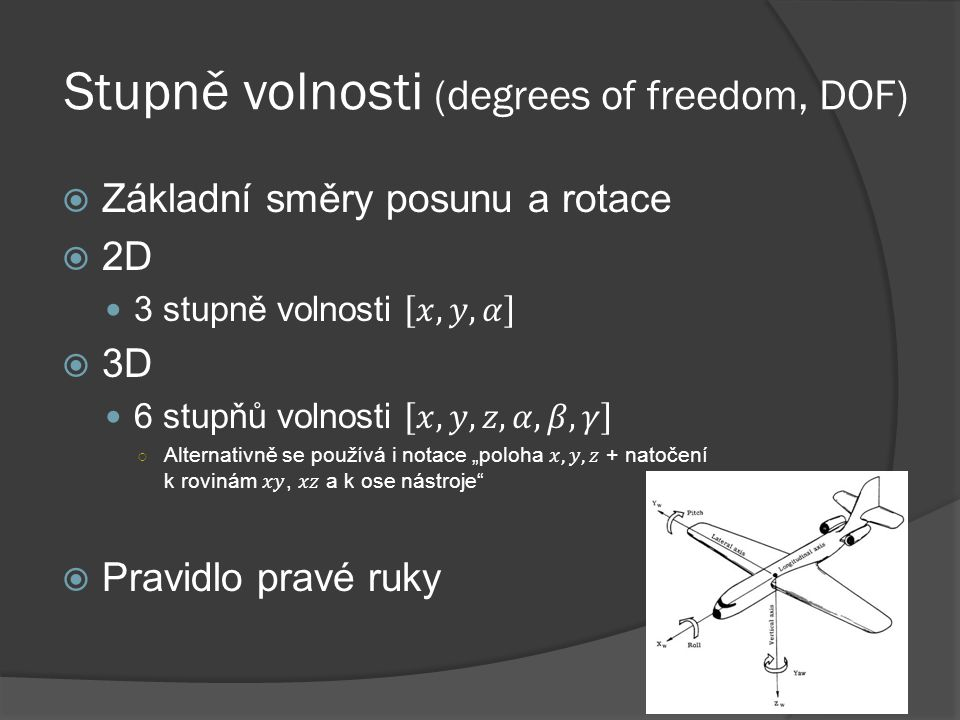 Stupně volnosti (degrees of freedom, DOF)