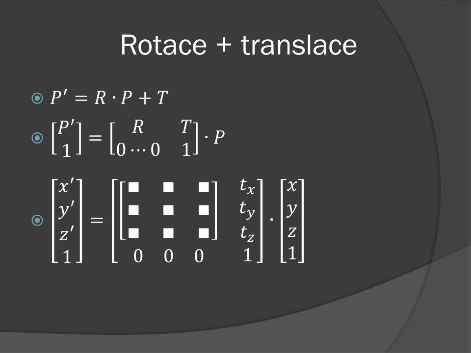 Rotace + translace 𝑃 ′ =𝑅∙𝑃+𝑇 𝑃 ′ 1 = 𝑅 𝑇 0⋯0 1 ∙𝑃
