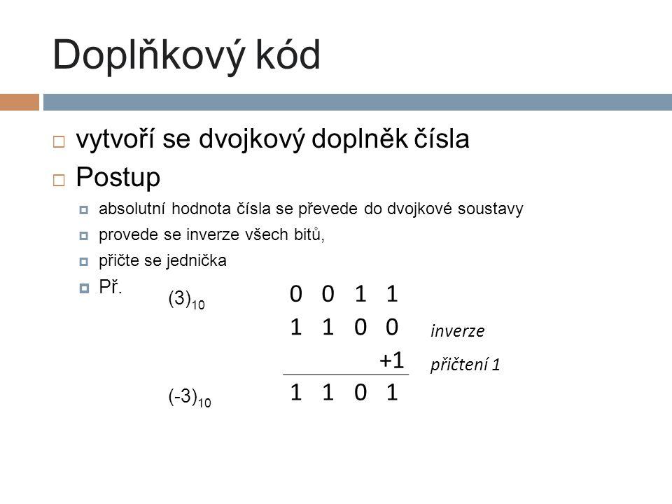 Doplňkový kód vytvoří se dvojkový doplněk čísla Postup 1 +1 (3)10