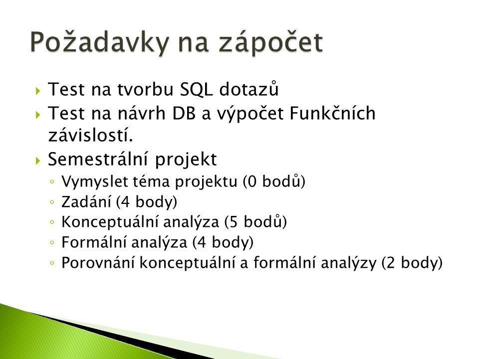 Požadavky na zápočet Test na tvorbu SQL dotazů
