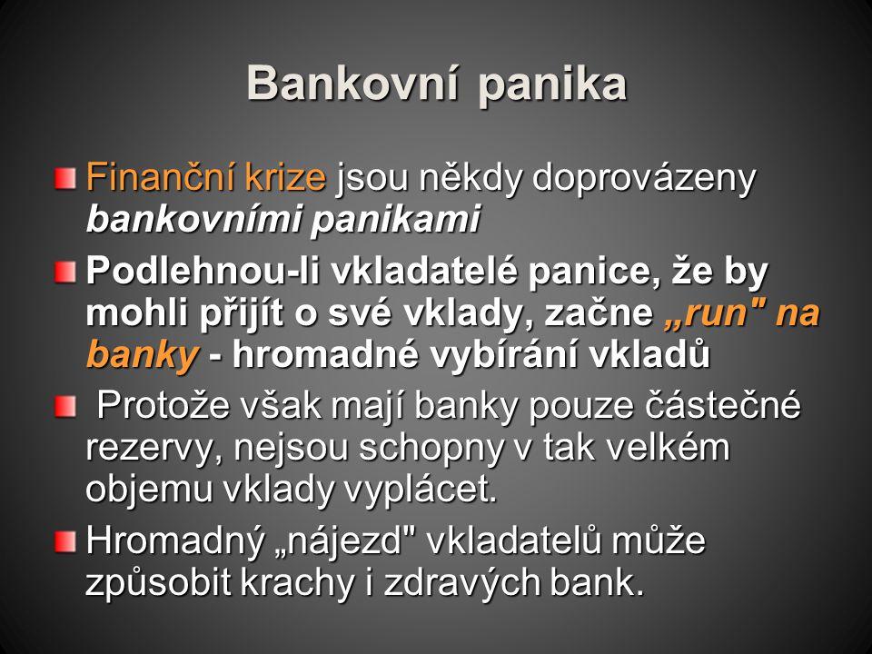 Bankovní panika Finanční krize jsou někdy doprovázeny bankovními panikami.