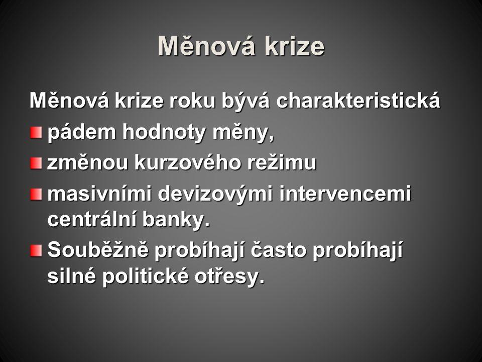 Měnová krize Měnová krize roku bývá charakteristická