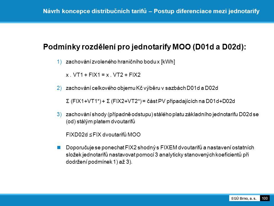 Podmínky rozdělení pro jednotarify MOO (D01d a D02d):
