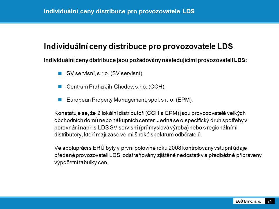 Individuální ceny distribuce pro provozovatele LDS