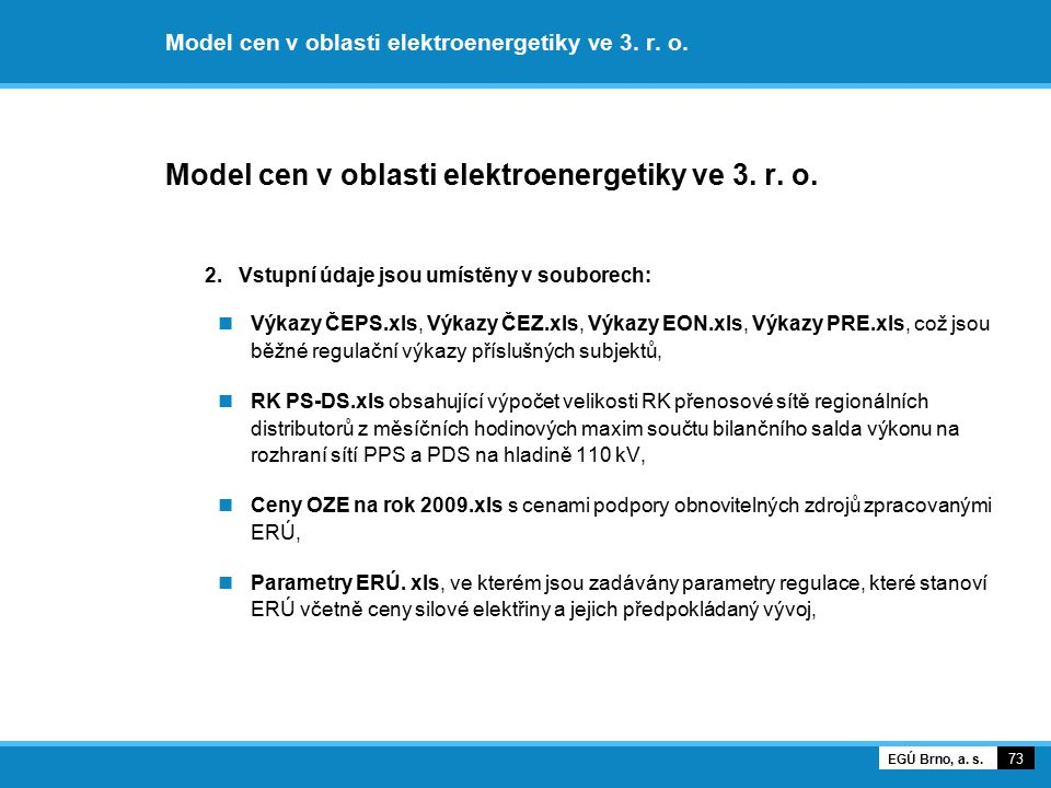 Model cen v oblasti elektroenergetiky ve 3. r. o.