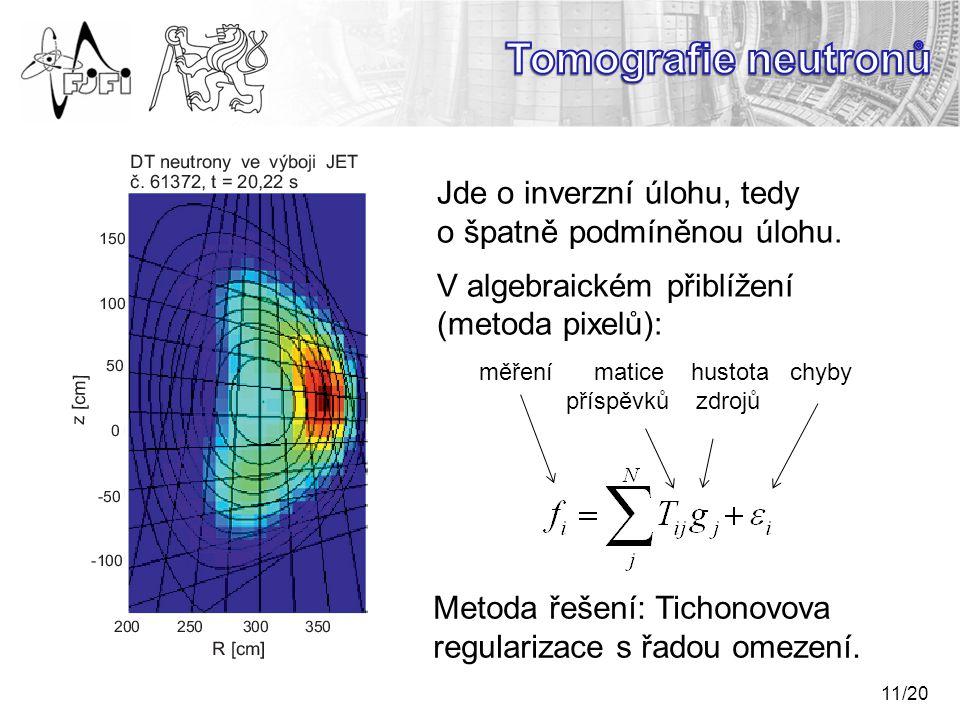 Tomografie neutronů Jde o inverzní úlohu, tedy o špatně podmíněnou úlohu. V algebraickém přiblížení (metoda pixelů):