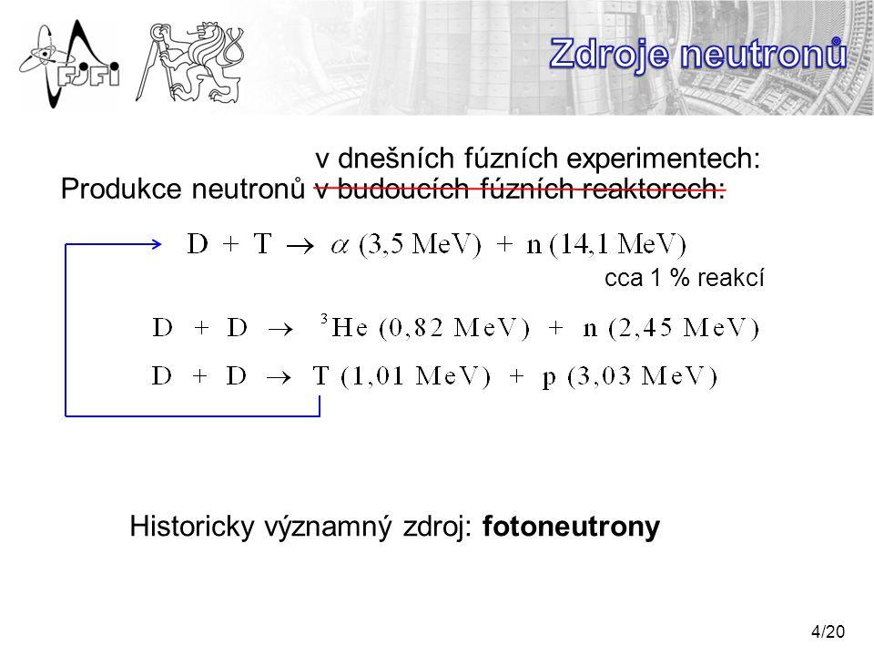 Zdroje neutronů v dnešních fúzních experimentech:
