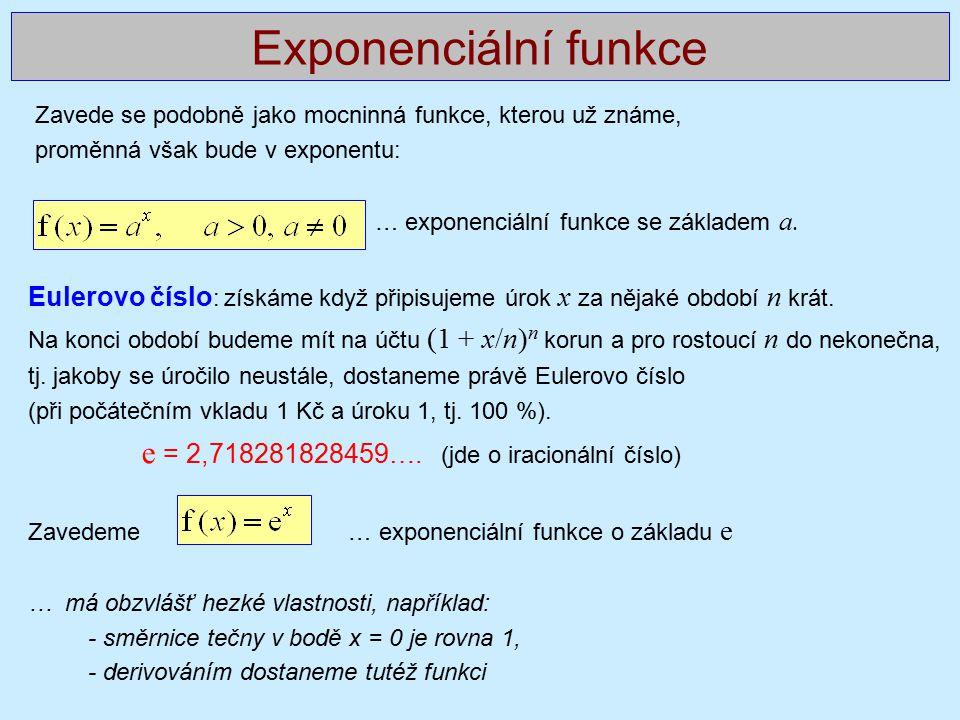 Exponenciální funkce Zavede se podobně jako mocninná funkce, kterou už známe, proměnná však bude v exponentu: