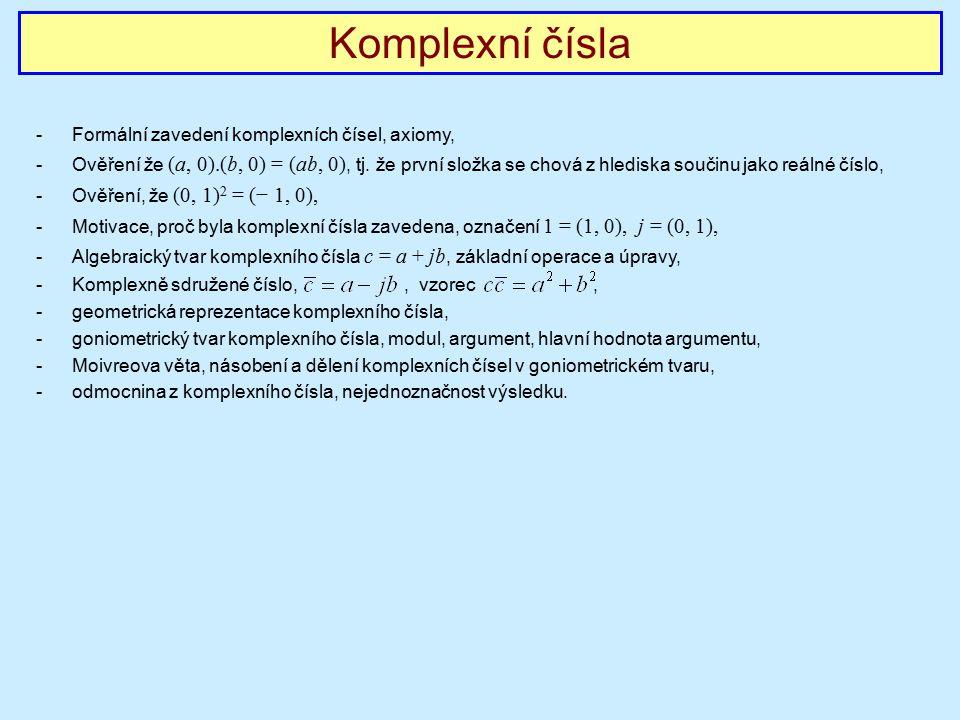 Komplexní čísla Formální zavedení komplexních čísel, axiomy,