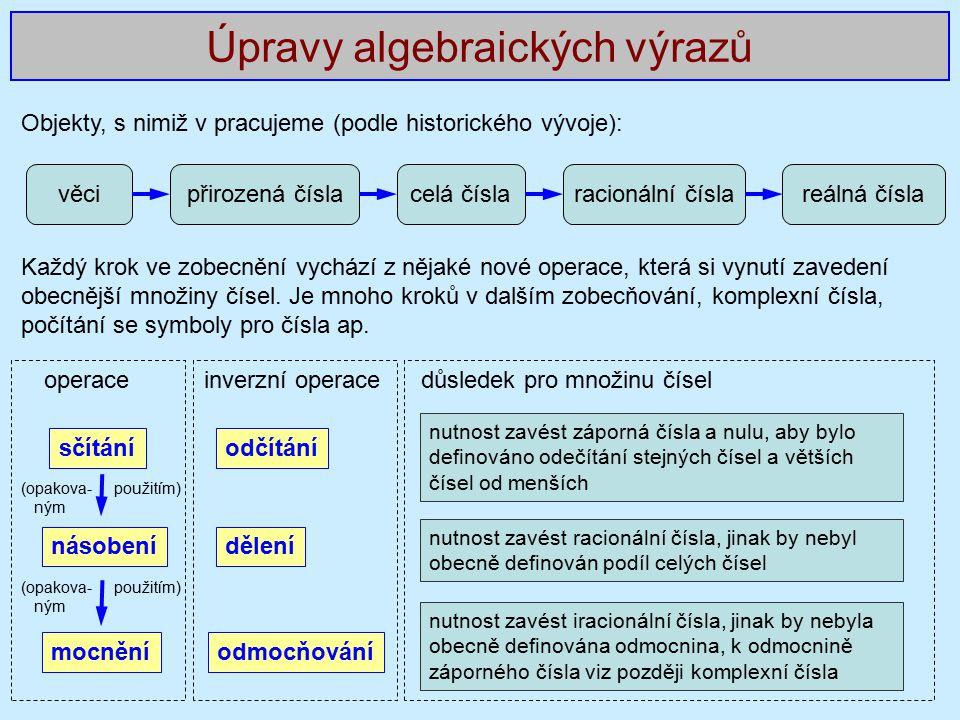 Úpravy algebraických výrazů