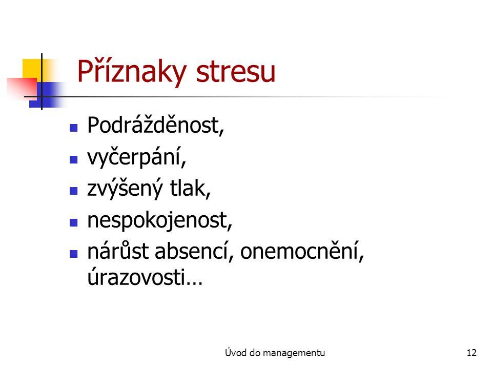 Příznaky stresu Podrážděnost, vyčerpání, zvýšený tlak, nespokojenost,