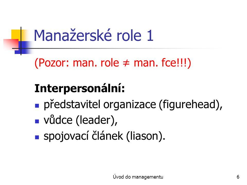 Manažerské role 1 (Pozor: man. role ≠ man. fce!!!) Interpersonální:
