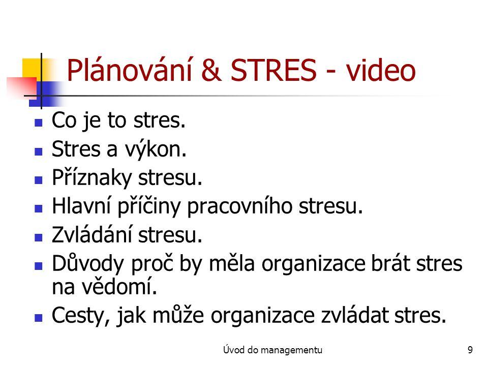 Plánování & STRES - video