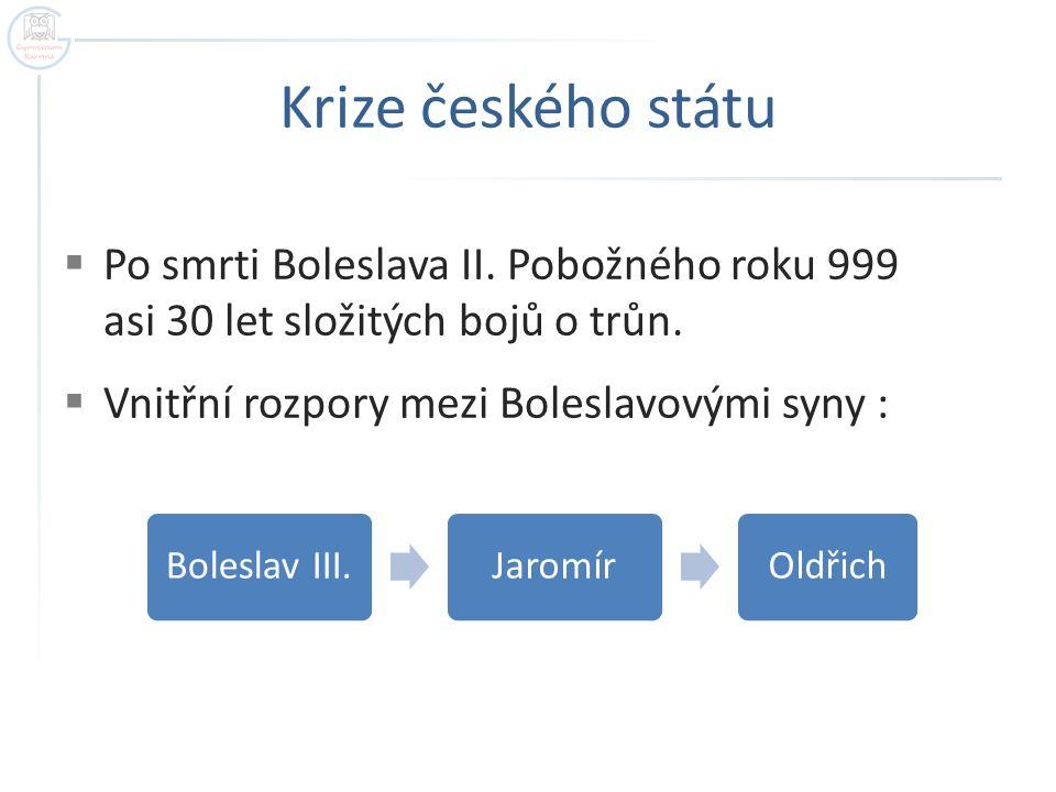 Krize českého státu Po smrti Boleslava II. Pobožného roku 999 asi 30 let složitých bojů o trůn. Vnitřní rozpory mezi Boleslavovými syny :