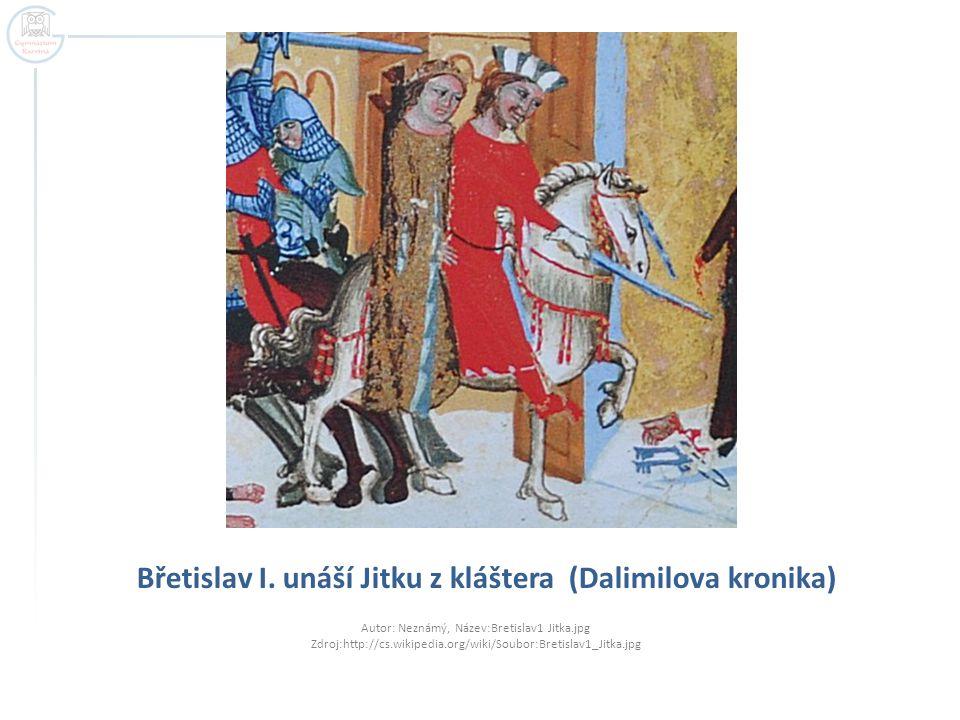 Břetislav I. unáší Jitku z kláštera (Dalimilova kronika)