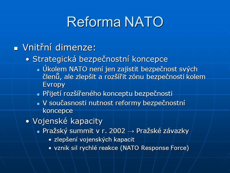 Reforma NATO Vnitřní dimenze: Strategická bezpečnostní koncepce