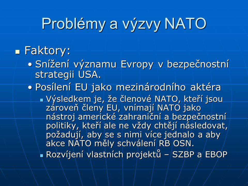 Problémy a výzvy NATO Faktory: