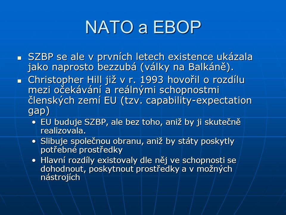 NATO a EBOP SZBP se ale v prvních letech existence ukázala jako naprosto bezzubá (války na Balkáně).