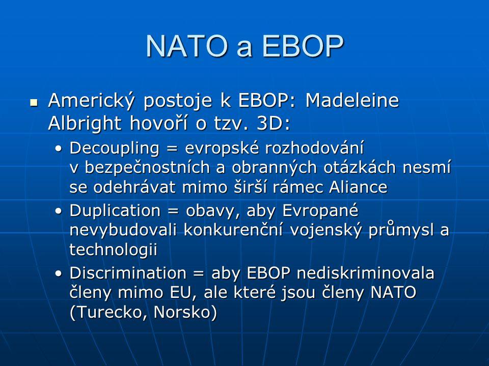 NATO a EBOP Americký postoje k EBOP: Madeleine Albright hovoří o tzv. 3D: