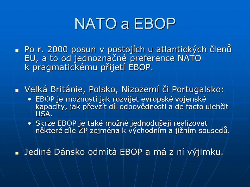 NATO a EBOP Po r. 2000 posun v postojích u atlantických členů EU, a to od jednoznačné preference NATO k pragmatickému přijetí EBOP.