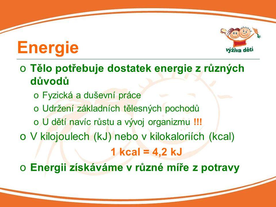 Energie Tělo potřebuje dostatek energie z různých důvodů