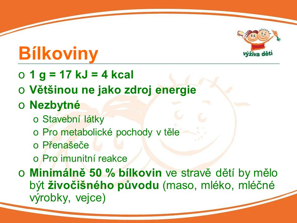 Bílkoviny 1 g = 17 kJ = 4 kcal Většinou ne jako zdroj energie Nezbytné