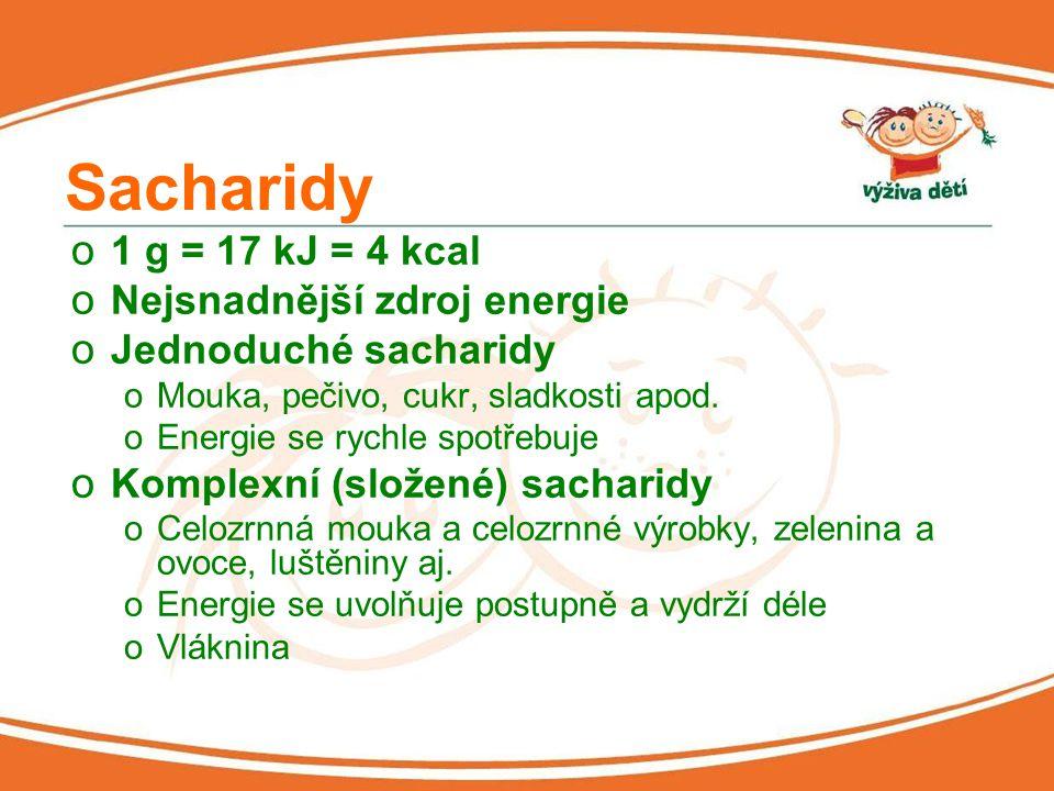 Sacharidy 1 g = 17 kJ = 4 kcal Nejsnadnější zdroj energie