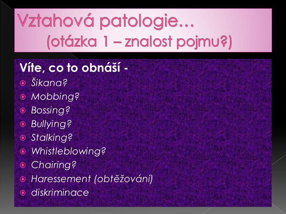 Vztahová patologie… (otázka 1 – znalost pojmu )