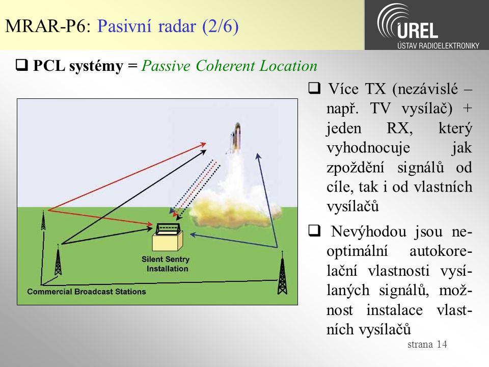 MRAR-P6: Pasivní radar (2/6)