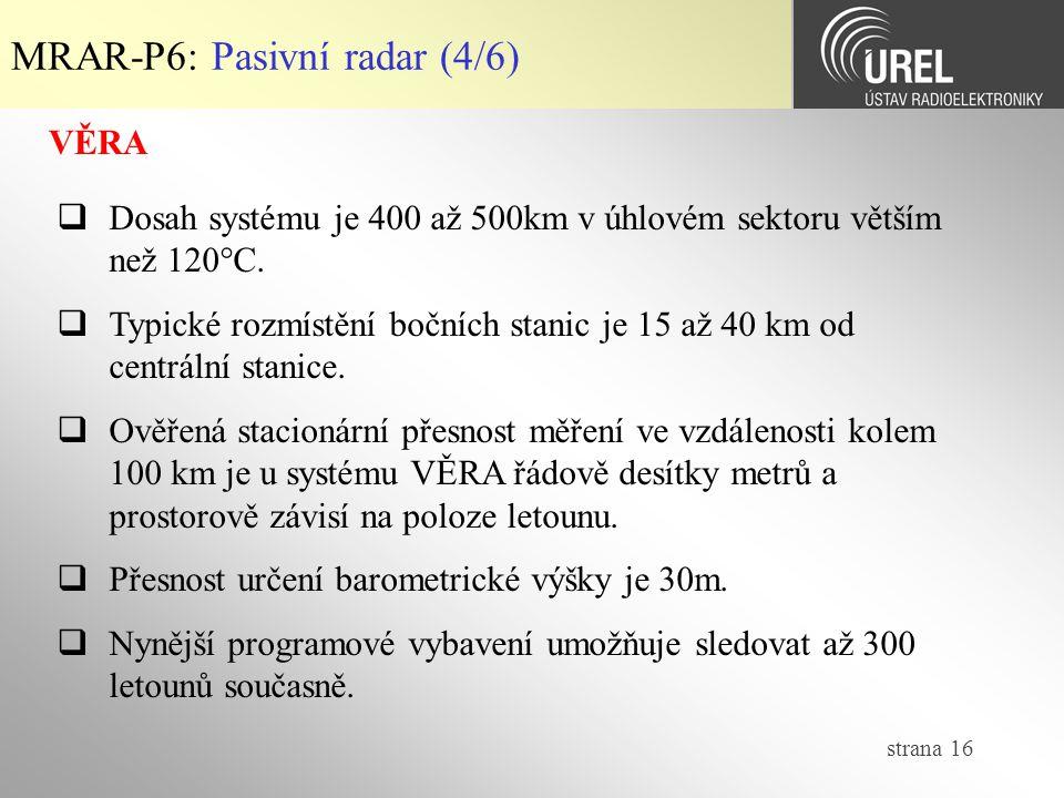 MRAR-P6: Pasivní radar (4/6)
