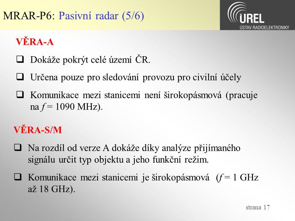 MRAR-P6: Pasivní radar (5/6)