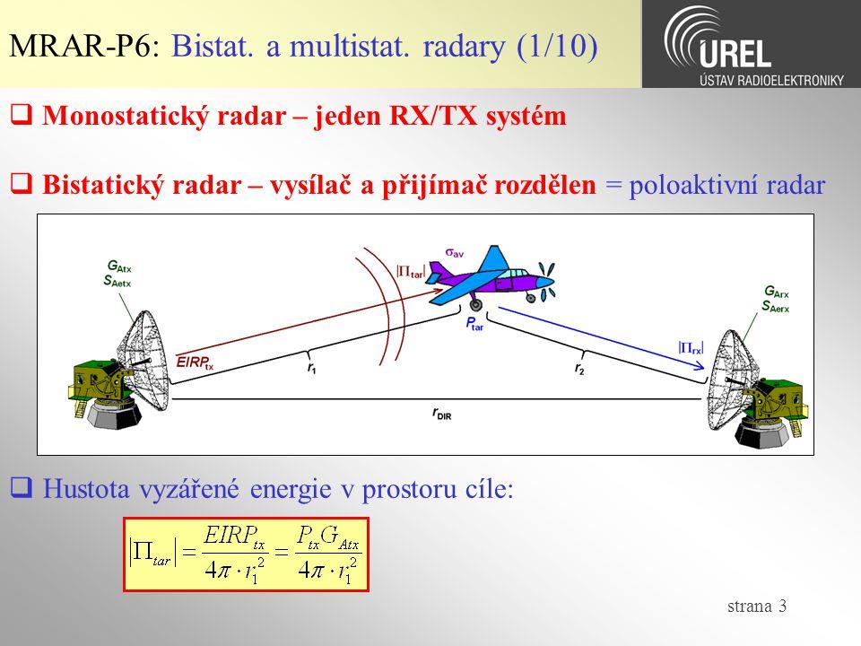 MRAR-P6: Bistat. a multistat. radary (1/10)