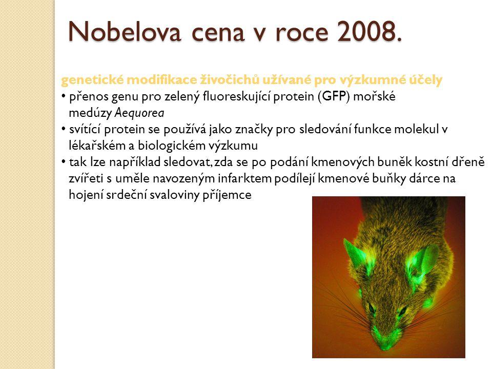Nobelova cena v roce 2008. genetické modifikace živočichů užívané pro výzkumné účely. přenos genu pro zelený fluoreskující protein (GFP) mořské.