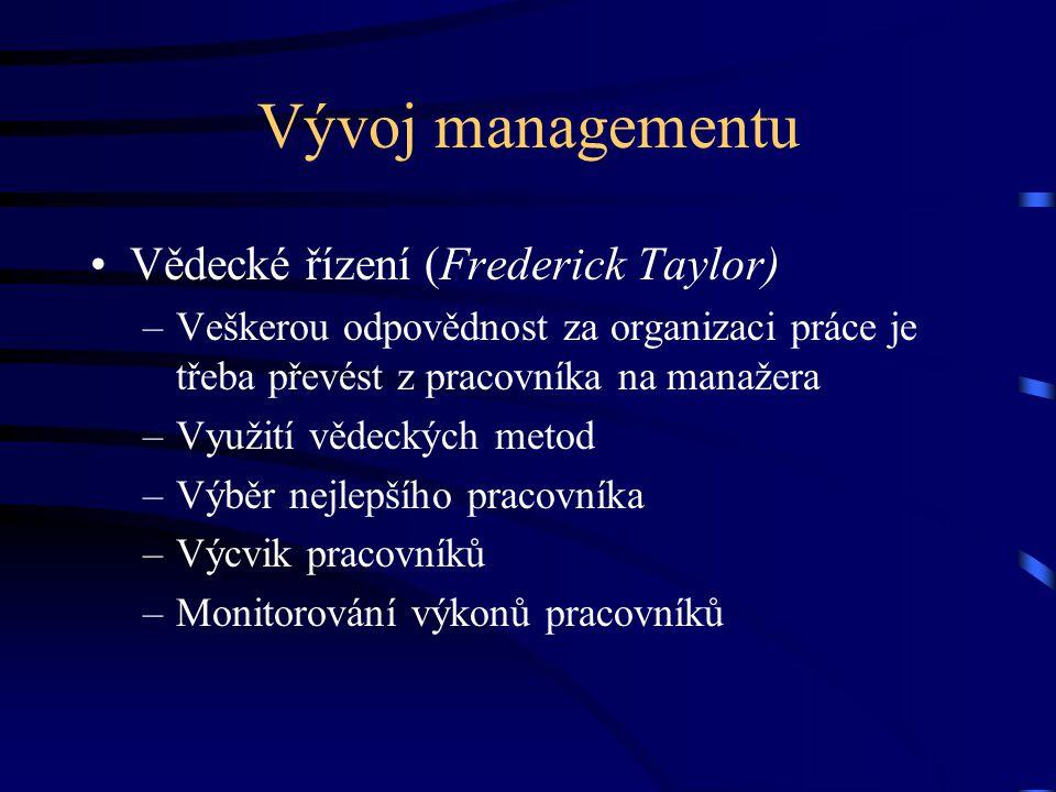 Vývoj managementu Vědecké řízení (Frederick Taylor)