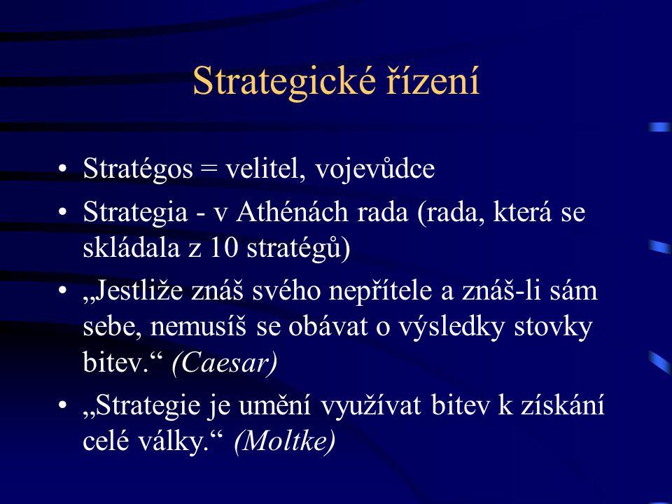 Strategické řízení Stratégos = velitel, vojevůdce