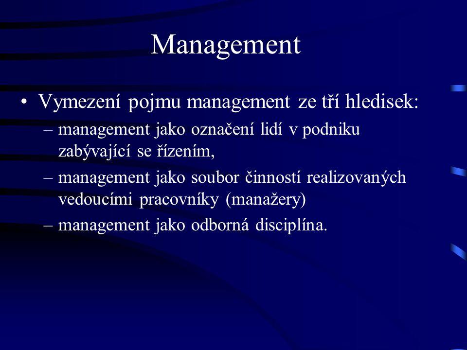 Management Vymezení pojmu management ze tří hledisek: