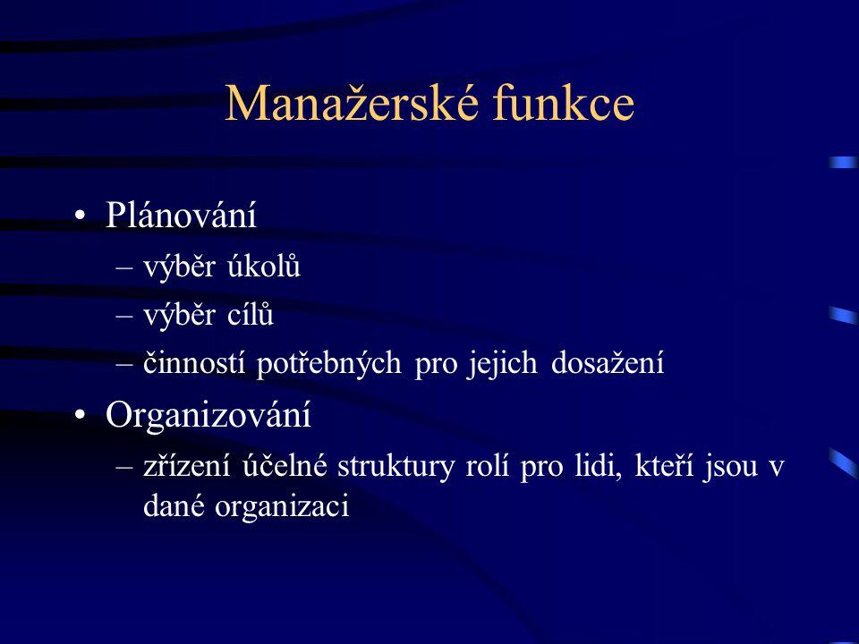 Manažerské funkce Plánování Organizování výběr úkolů výběr cílů